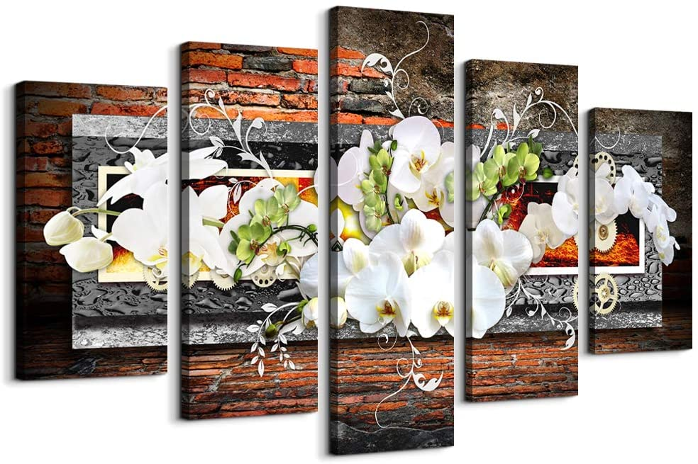 5 piece canvas wall art for living room Decorations Prints Orchid picture Large Flower Canvas Painting Contemporary Abstract Modern Home Decor The room Stretched and Framed Ready to Hang artwork