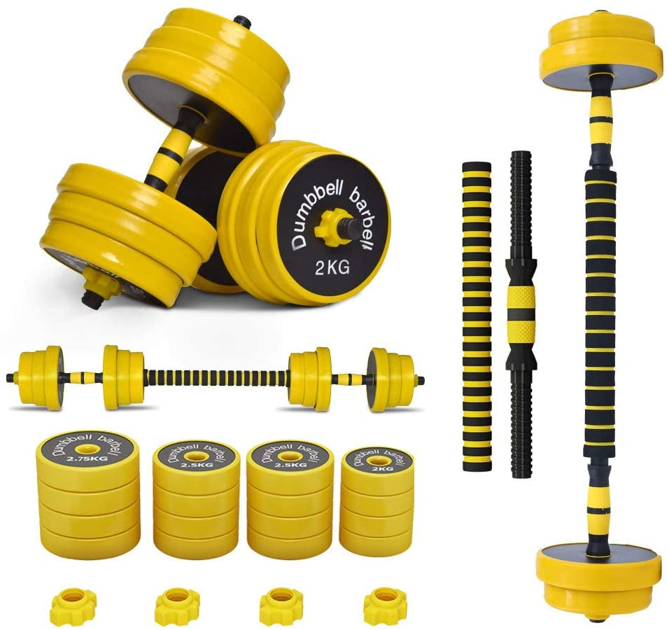 Adjustable Weights Dumbbells Barbell Set 2 in 1 for Men and Women Free Weights Dumbbells Set with Connecting Rod for Exercise Lifting Workout Bodybuilding Training 2 Pair/Set