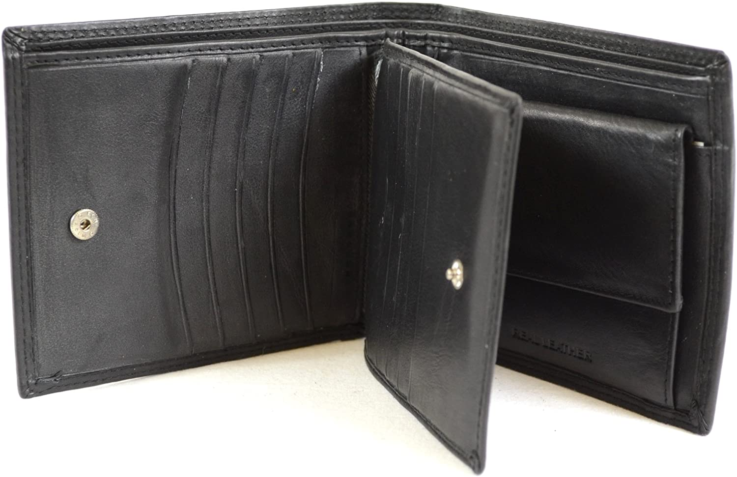 Men's Soft Leather Wallet with Multiple Card Slots and Pockets (Black, Dark Brown, Tan)