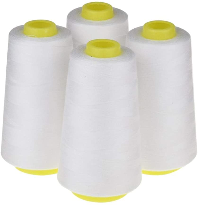 LNKA 4 Pack of 3000 Yard Spools White Sewing Thread All Purpose 100% Spun Polyester Overlock Cone (Upholstery, Canvas, Drapery, Beading, Quilting)