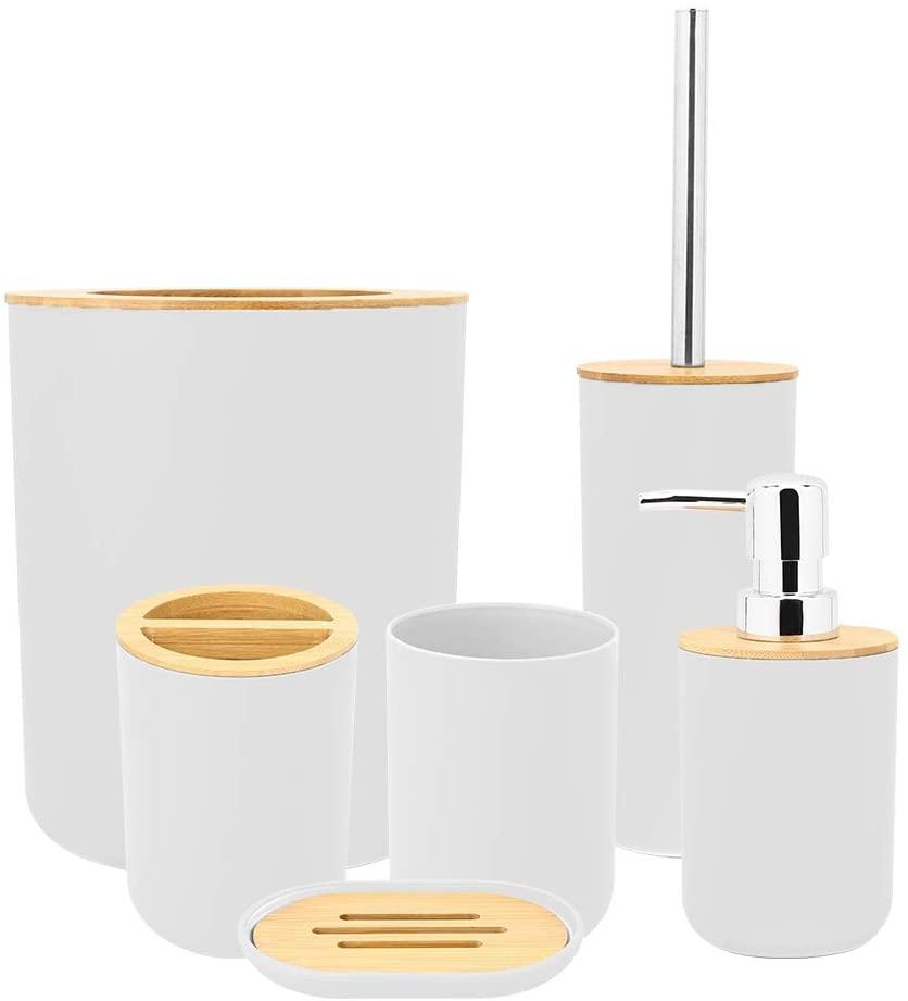 GOTOTOP Set of 6 Bathroom Accessories Plastic + Bamboo Bathroom Accessory Set Bath Accessories Bath Piece Bathroom Accessory Set(White)