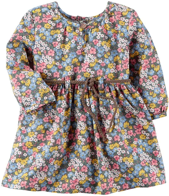 Carter's Baby Girls' Floral Twill Dress, Newborn