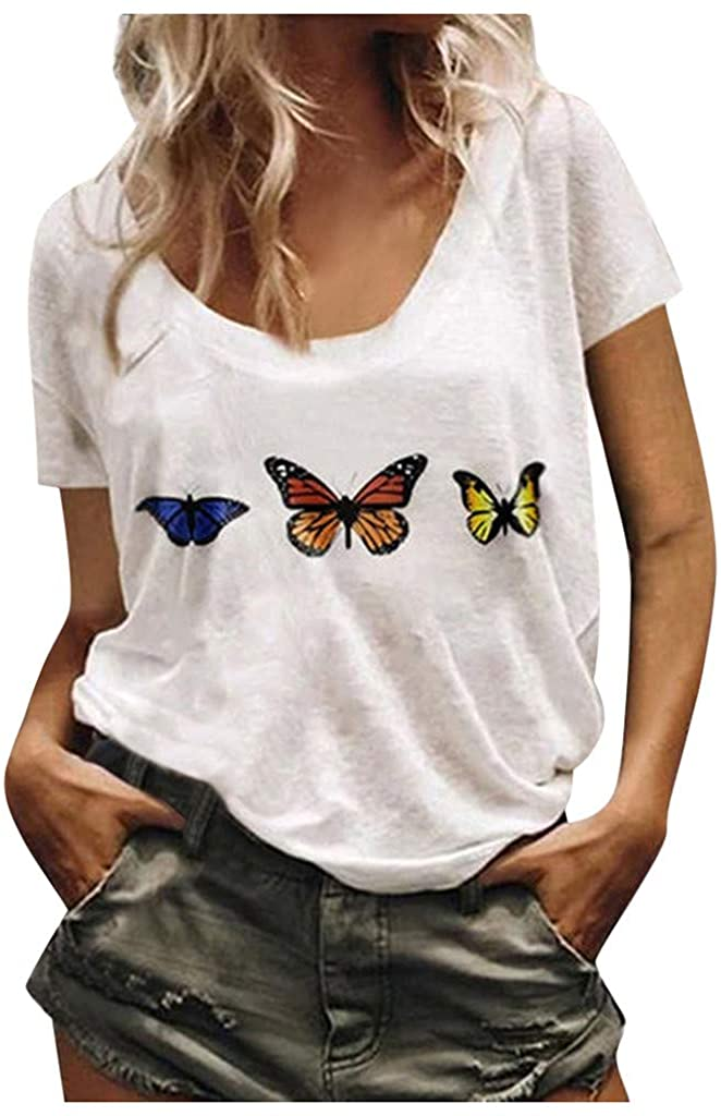 Women Summer Simple Tunic Tops Butterfly Print Loose Casual Short Sleeve T-Shirt Basic Blouse