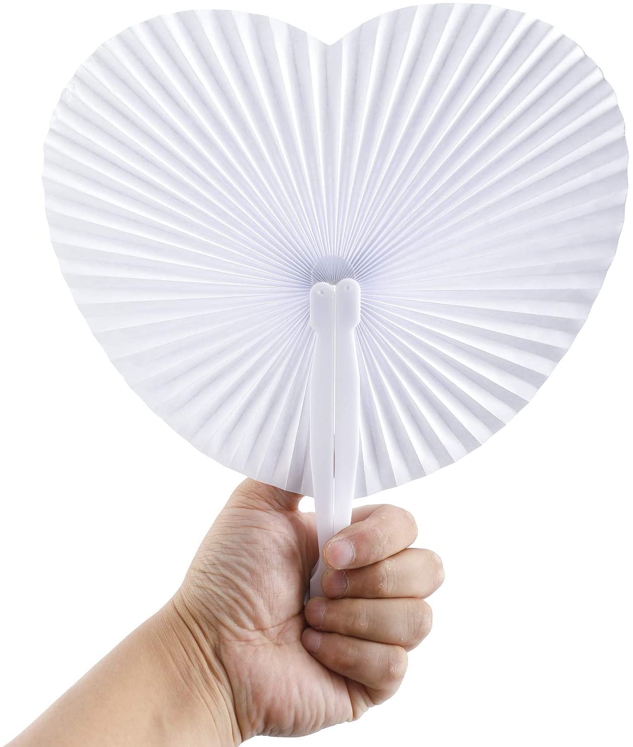 HighFree 60 Packs White Folding Fans Wedding Heart Shaped Paper Fans with Plastic Handle for Favor Party Celebration Event
