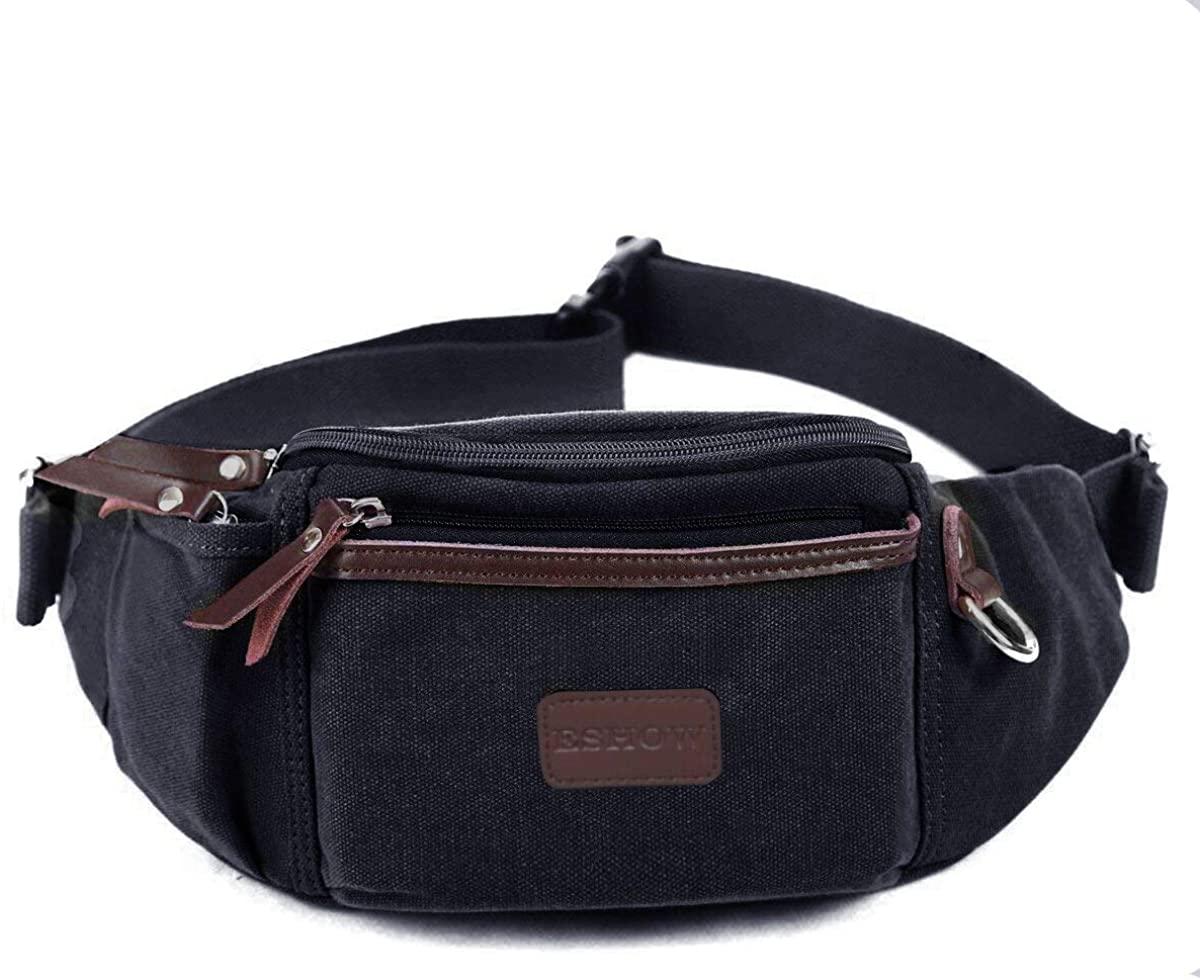 Eshow Men's Fanny Pack Canvas Waist Pack Waist Bag for Men Belt Bag Outdoors for Morning Jogging Running