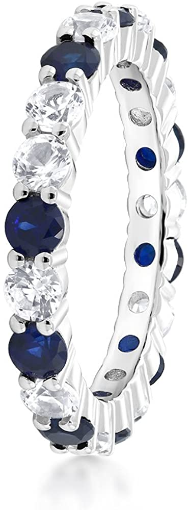 Gem Stone King Gorgeous 2.20 Ctw Round Blue & White Created Sapphire 925 Sterling Silver Women's Band Eternity Ring (Available 5,6,7,8,9)
