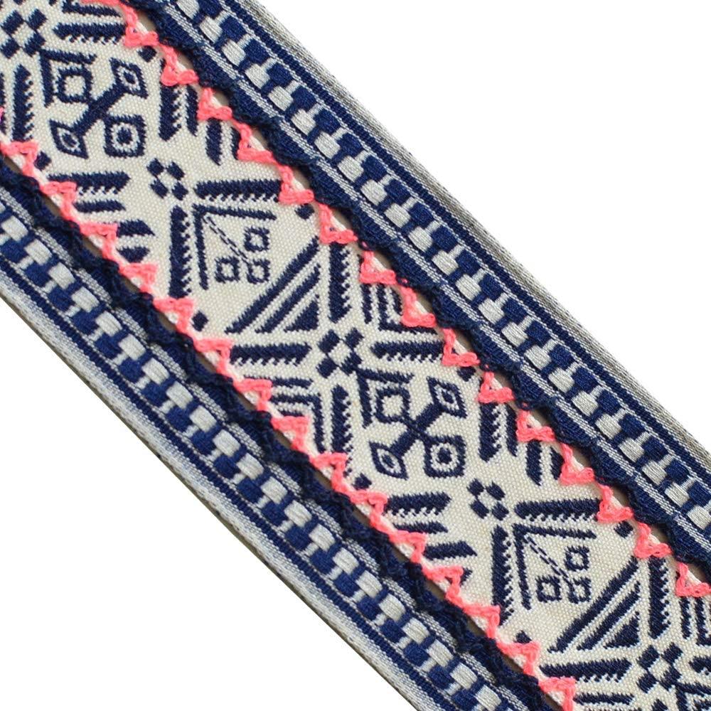 JR 685 Jacquard Woven Ribbons Bohemian Navy Beige Trim Tape, 2