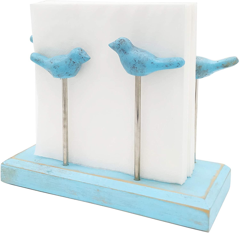 OwlGift Bird Design Classic Wooden Base Napkin Holder / Tabletop Freestanding Tissue Dispenser , Aqua Blue