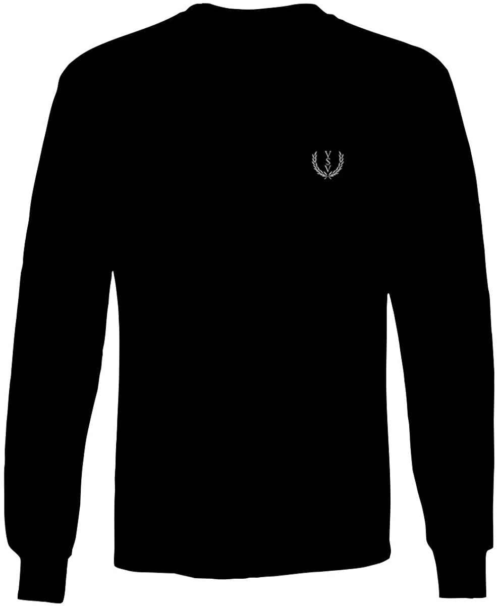 Vices and VIRTUESS White Logo Seal Minimal Hipster Small Long Sleeve Men's