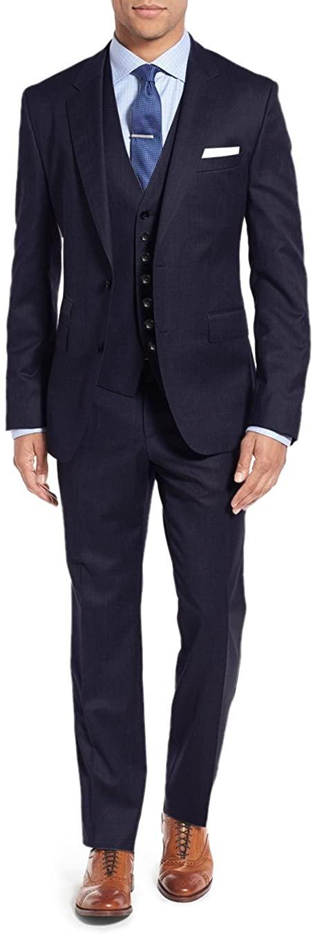 Salvatore Exte Men's 3 piece 2 Button Vested Suit Set Blazer Pant Plus Tux Vest