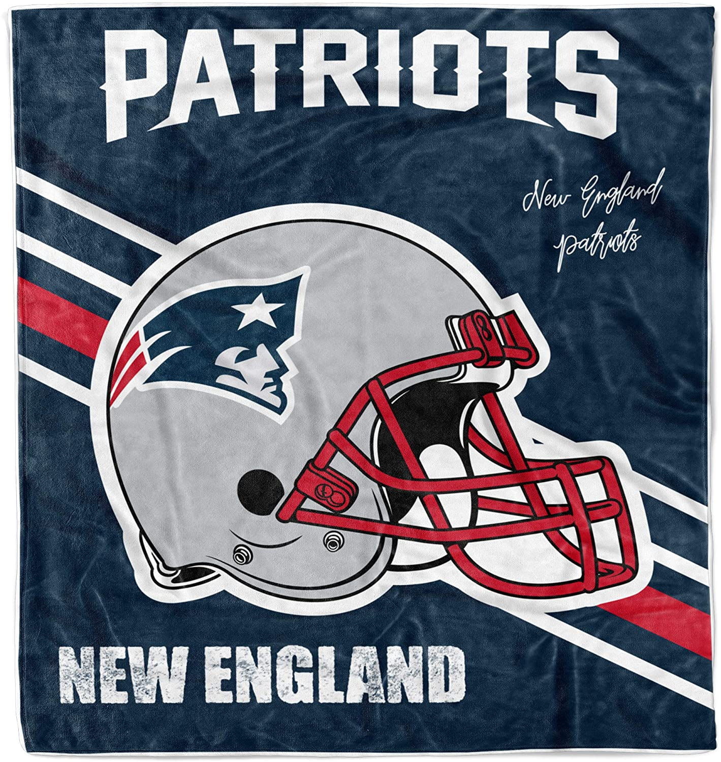 Sports Fans Throw Blanket Football Team Logo Warm Printed Blankets Soft Cozy Washable Multi Color 50×60Inch (Patriots)
