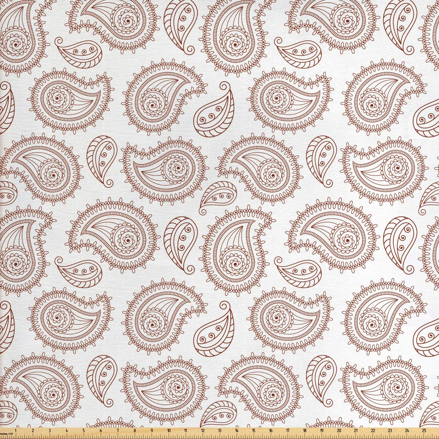 Ambesonne Brown Paisley Fabric by The Yard, Continuous Almond Inspired Oriental Motifs Traditional Fashion Print, Decorative Fabric for Upholstery and Home Accents, 1 Yard, Redwood and White