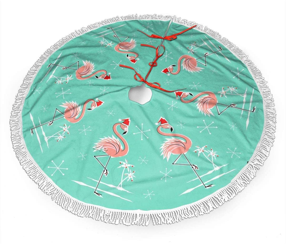 TOLUYOQU Christmas Tree Skirt Christmas_Flamingo Xmas Tree Skirt with Fringed Edge for Holiday Party Decoration