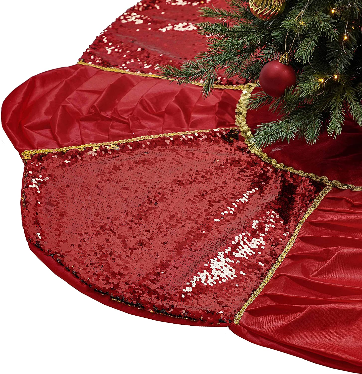 Valery Madelyn 48 inch Luxury Red Gold Reversible Sequins Christmas Tree Skirt with Ruffles and Flower Unique Shaped, Themed with Christmas Ornaments Decorations (Not Included)