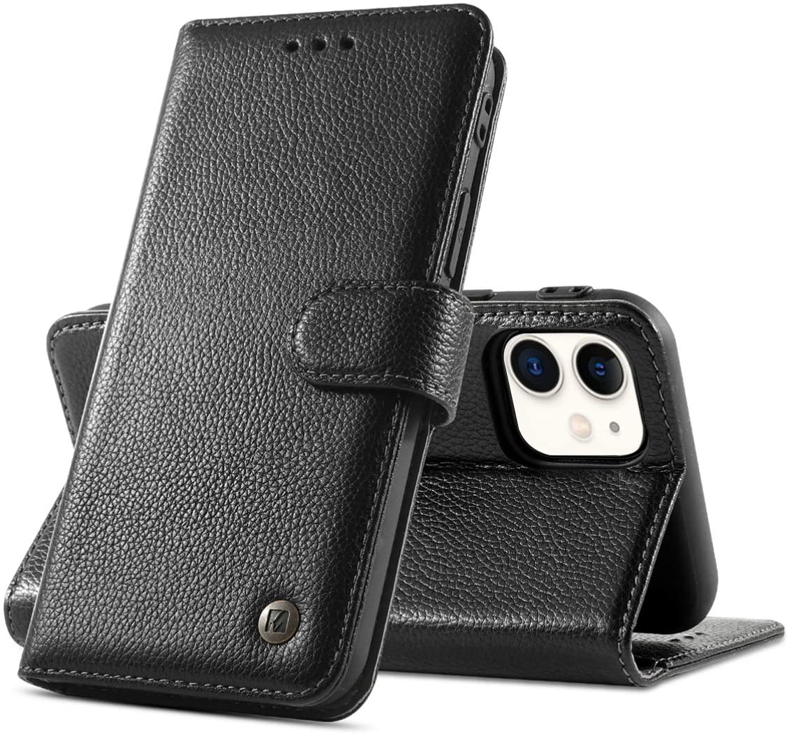 Mikikit Black Lychee Genuine Leather Flip Case for iPhone 11, RFID Anti-Theft Business Wallet Case Flip Folio Cover Shockproof Silicone case + Real Leather Kickstand Phone Cover for Apple iPhone 11