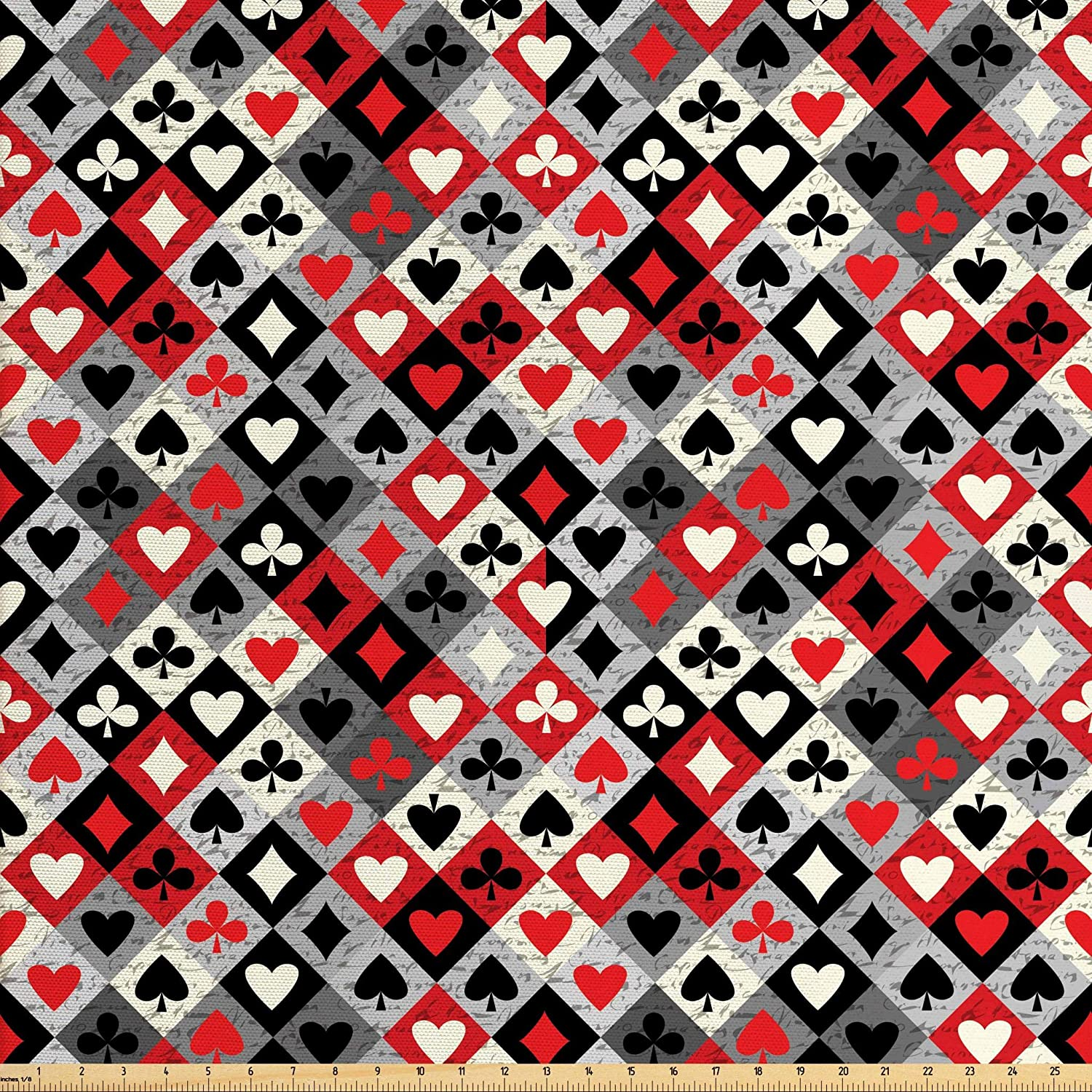 Lunarable Casino Fabric by The Yard, Checkered Rhombus Pattern with Playing Card Grunge Display Gaming Club Theme, Decorative Fabric for Upholstery and Home Accents, 2 Yards, Black Red