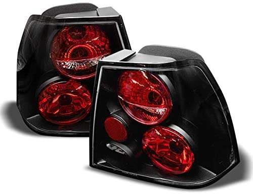 For VW Jetta 4Dr Sedan Black Bezel Rear Tail Lights Brake Driver/Passenger Lamps