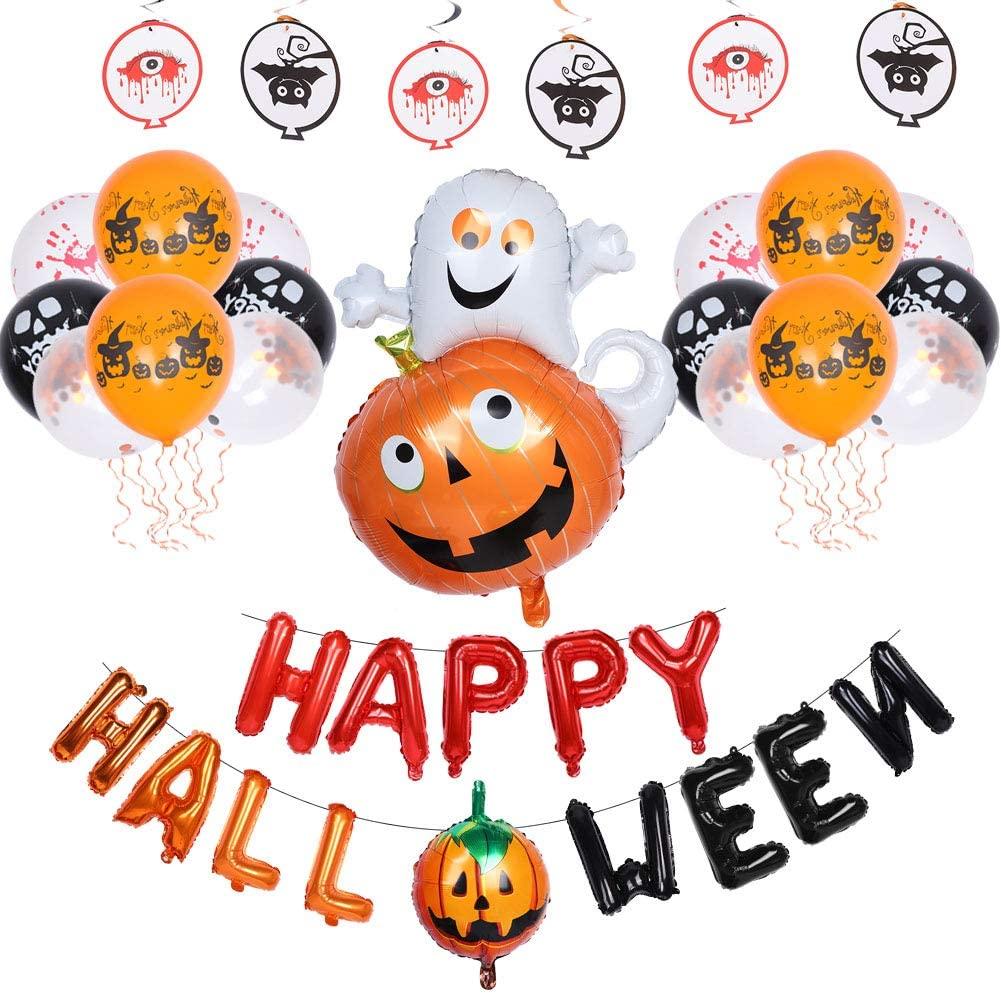 Funny Halloween Balloon Set, Explosion‑Proof Pumpkin Ghost Balloon, Halloween Party Decoration Balloons Accessory for Weddings, Birthdays, Graduations, Christmas, Halloween, Easter, etc