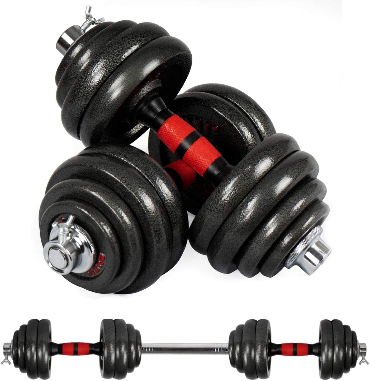Elevens Adjustable Dumbbells Set, Free Weights Dumbbell Used as Barbell for Home Training 2 Pieces/Set 66lbs