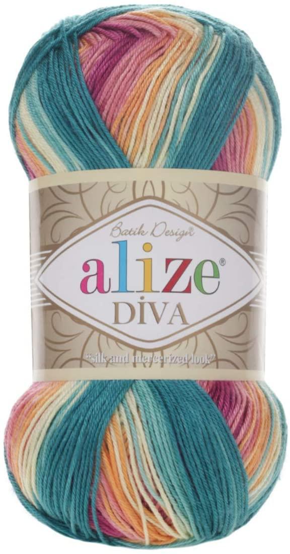 100% Microfiber Yarn Alize Diva Batik Silk Effect Thread Crochet Hand Knitting Turkish Yarn Art Lot of 4skn 400g 1532yd Color Gradient (4572)