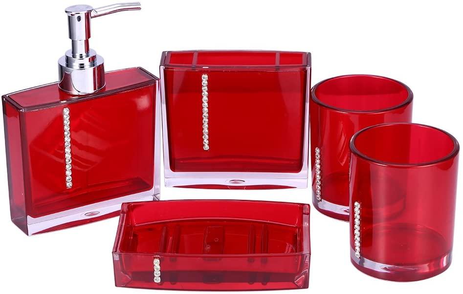 GOTOTOP Bathroom Designer 5-Piece Bath Accessory Set,AcrylicGift Set Toothbrush Holder Toothbrush Cup Soap Dispenser Soap Dish Toilet Brush Holder Trash Can Tumbler Straw Set Bathroom,Red