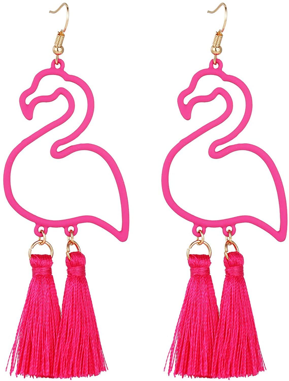 Long tiantian Flamingos Dangle Earrings for Girls Oiled Bird Earrings for Women Thanksgiving Jewelry Gift