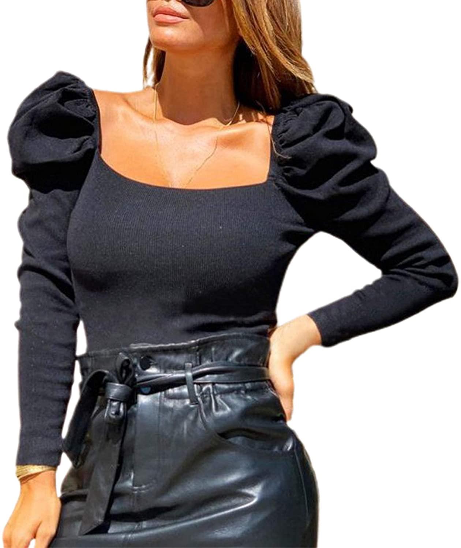 Remidoo Women's Puff Long Sleeve Ribbed Knit Square Neck Crop Top T-Shirt