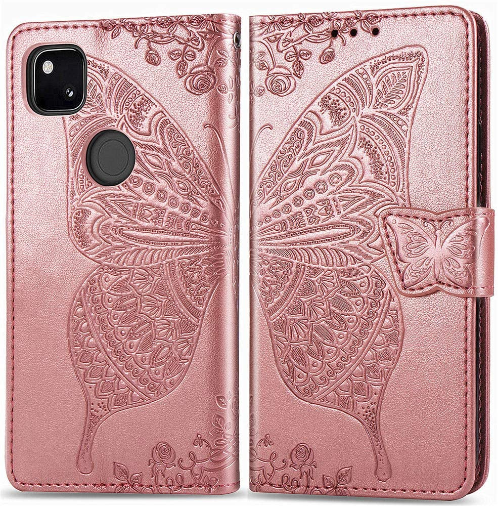 MEUPZZK Google Pixel 4A Wallet Case, Embossed Butterfly Flower Premium PU Leather [Folio Flip] [Kickstand] [Card Slots] [Wrist Strap] [6.2 inch] Cover for Google Pixel 4A (A-Rose)