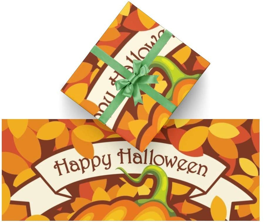 Wrapping Paper Halloween Pumpkin Leaves for Christmas, Birthday, Valentines Day, Bridal or Baby Showers - 3Rolls - 58inch x 23inch Per Roll