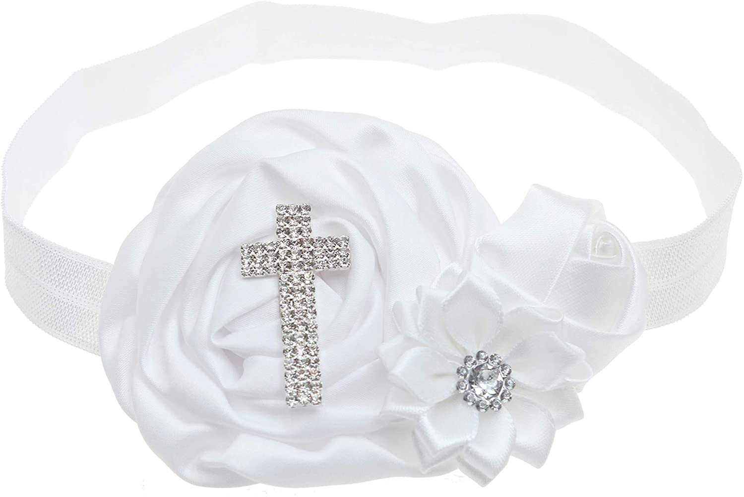 KEKEDA Baby Girl Christening Headbands with Bows White