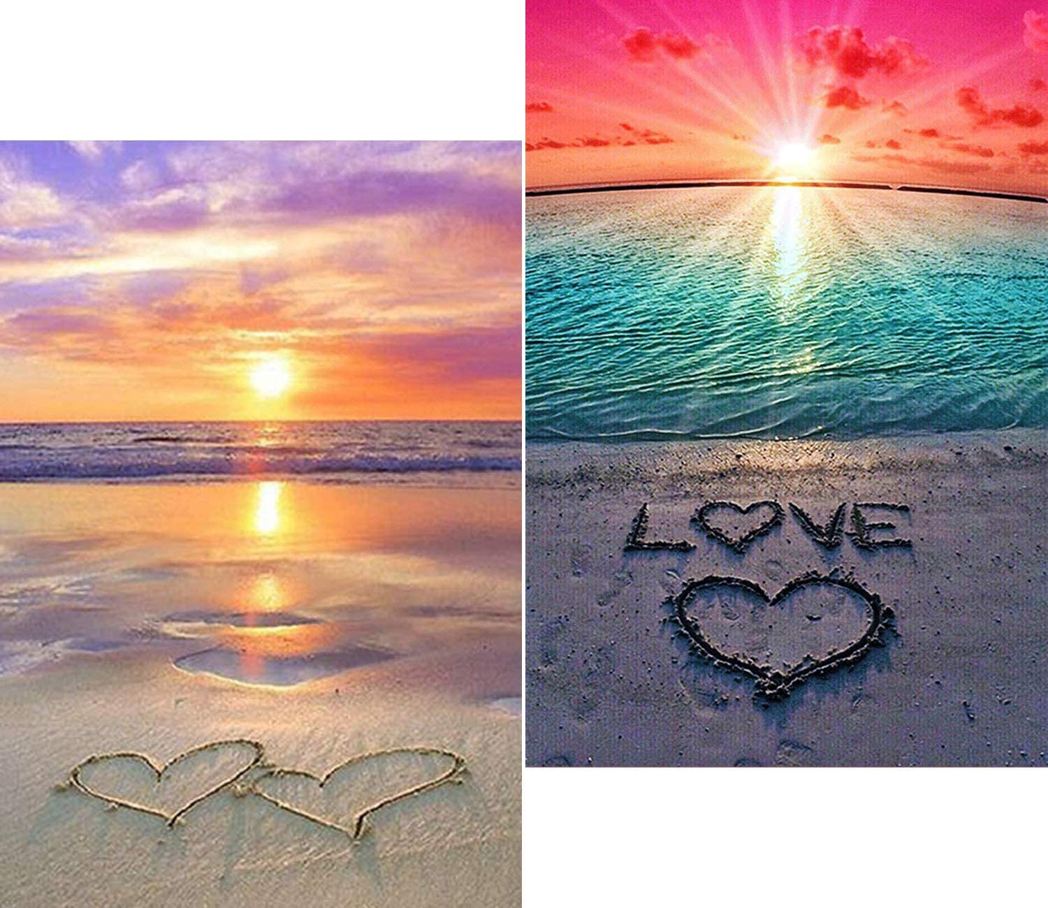 RayMoon 2pcs Diamond Painting Kits for Adults Full Drill 5D Diamond Painting for Beginners DIY Painting by Numbers Embroidery Painting Without Frames for Home Decor Love Beach 11.8x15.7inches