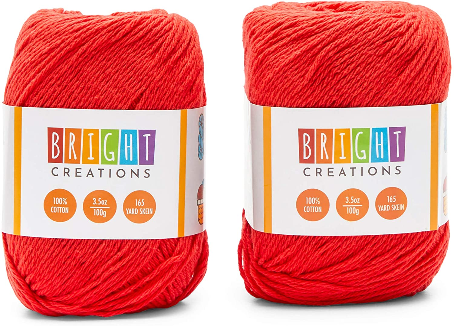 Red Cotton Skeins Yarn for Knitting, Crocheting, Crafts (330 Yards, 2 Pack)