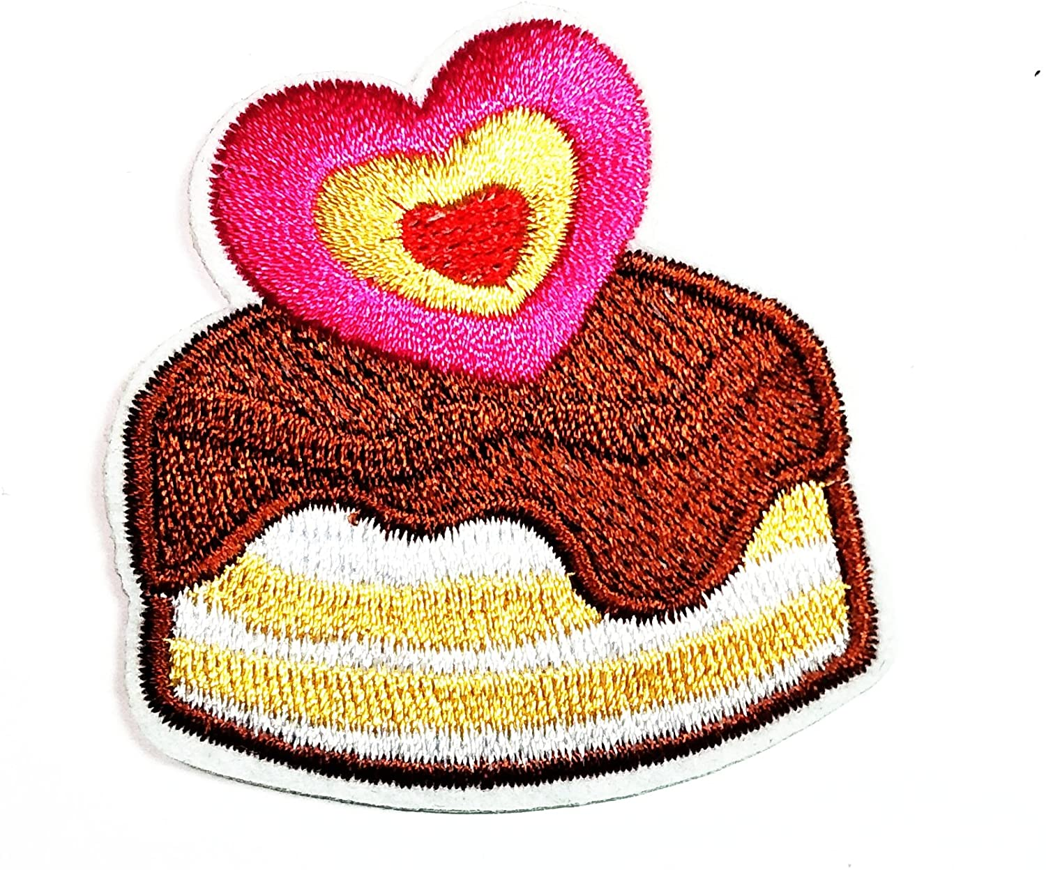 HHO Cute Cupcakes Pink heart Patch Embroidered DIY Patches, Cute Applique Sew Iron on Kids Craft Patch for Bags Jackets Jeans Clothes