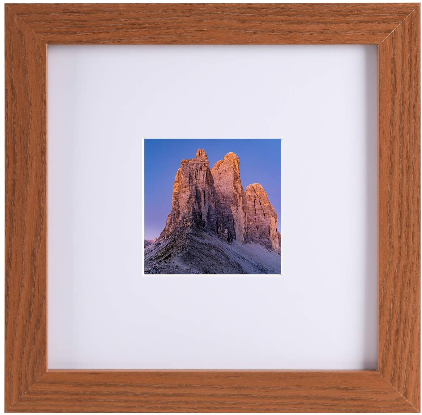 8x8 Picture Frame Display 3.5x3.5 Picture with Mat, 8x8 Without Mat, Ready to Hang or Stand, Wall and Tabletop Frame (Brown, 8x8)