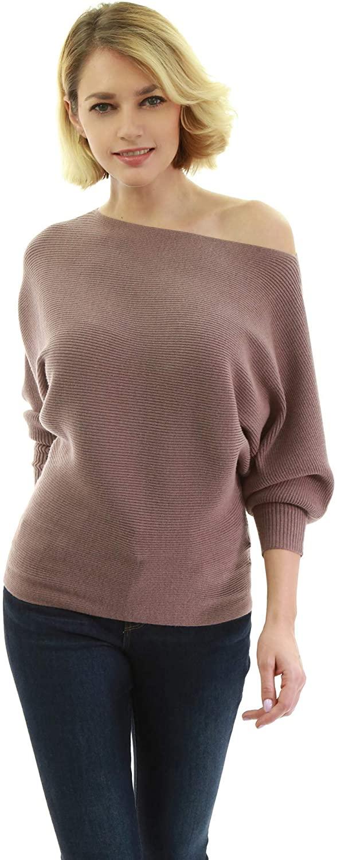 AmélieBoutik Women One Shoulder Batwing Ribbed Sweater