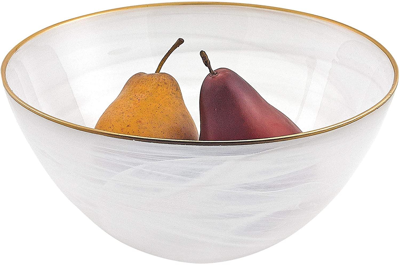 Badash White Alabaster 10 Glass Bowl With Gold Rim (gold)