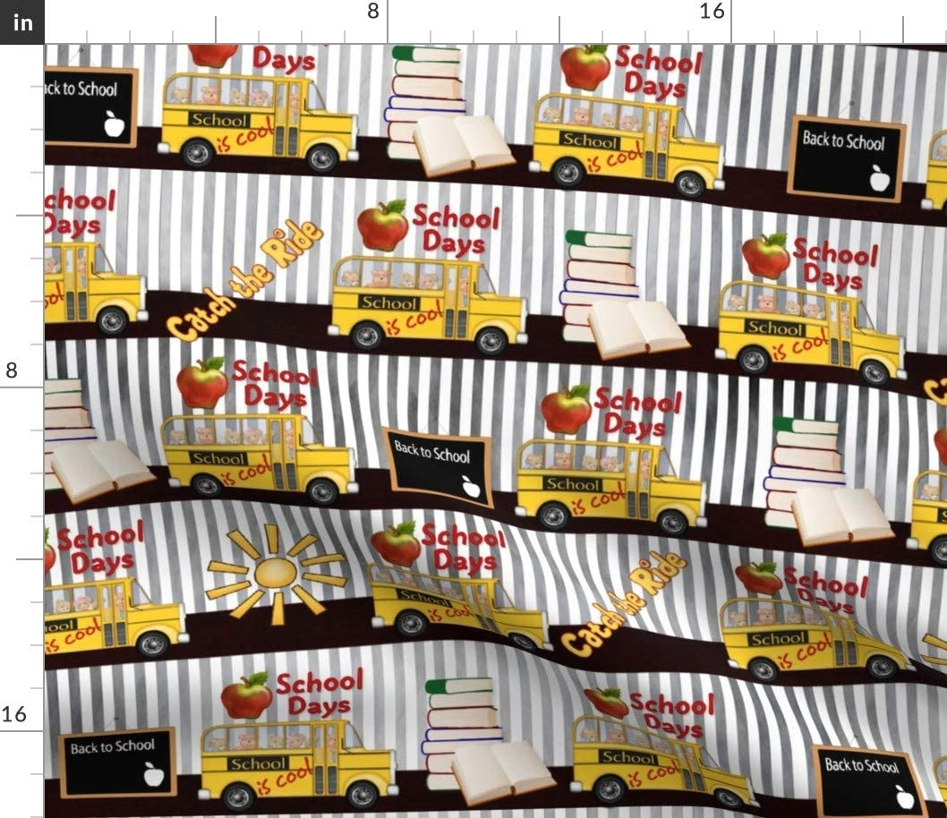 Spoonflower Fabric - School Cool Stripes Bus Back Yellow Typography Teacher Printed on Cotton Poplin Fabric by The Yard - Sewing Shirting Quilting Dresses Apparel Crafts