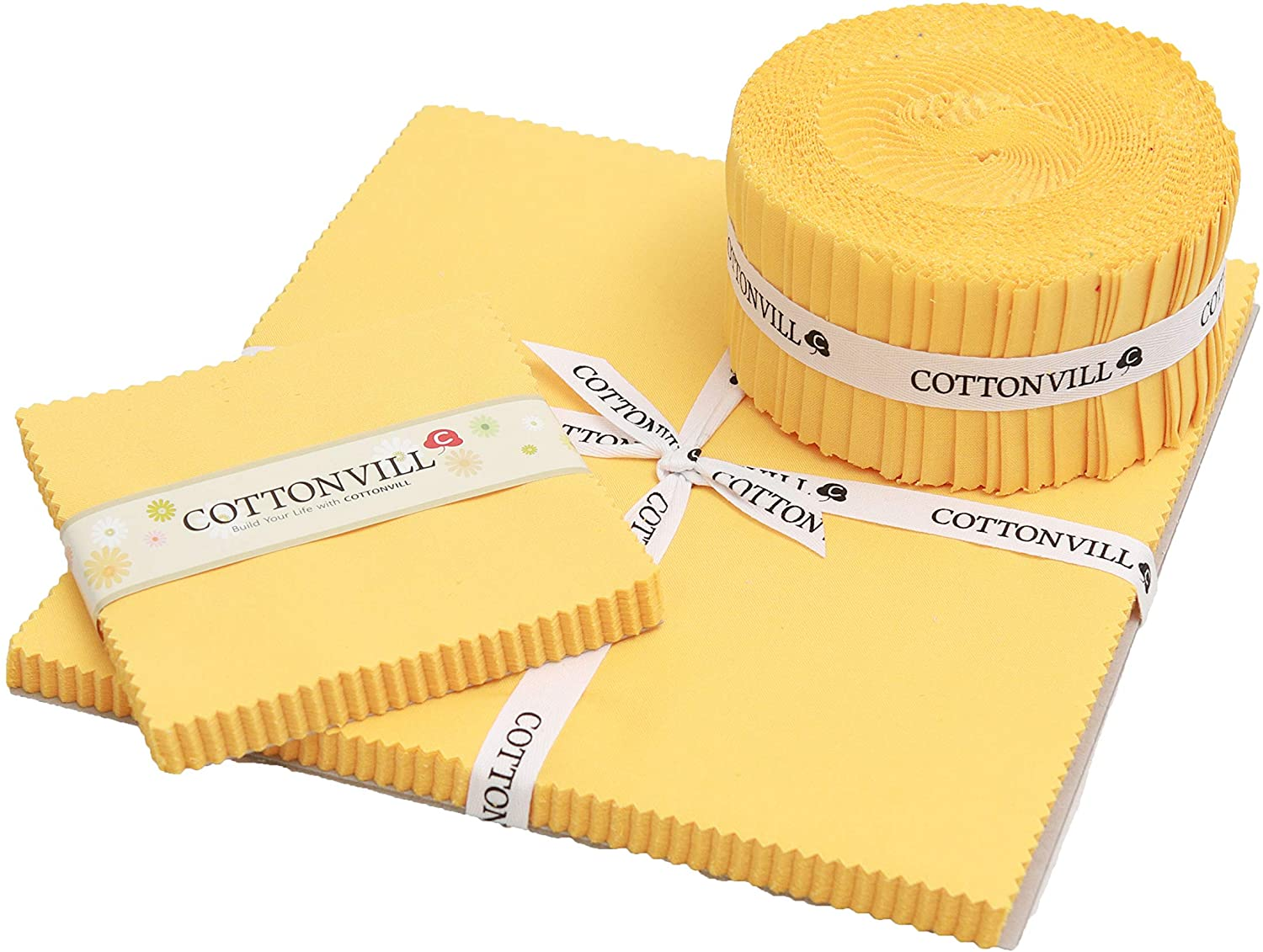 COTTONVILL 20COUNT Cotton Solid Quilting Fabric (2.5inch Strip, 14-Banana)