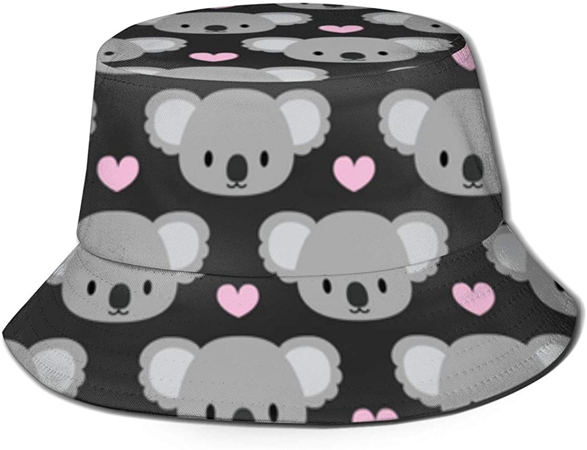 Fishing Hunting Summer Travel Bucket Cap Hat - Cute Koalas and Pink Hearts