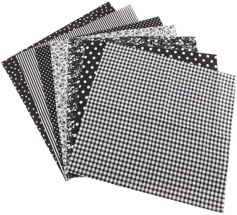 ROSEBEAR 7pcs 5050cm Cotton Fabric DIY Assorted Squares Pre-Cut Bedding Kit Quarters Bundle (Black)