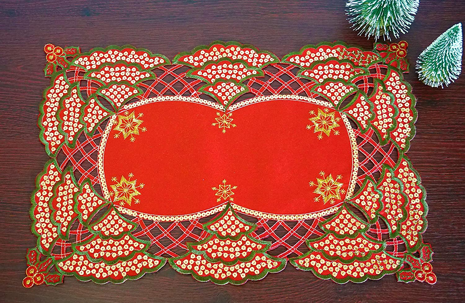 CloudSun Holiday Christmas Placemats Set of 4,Poinsettia Embroidered Christmas Trees with Gold Sequins Table Topper for Home Kitchen Dining Room Xmas Table Decorations, 12