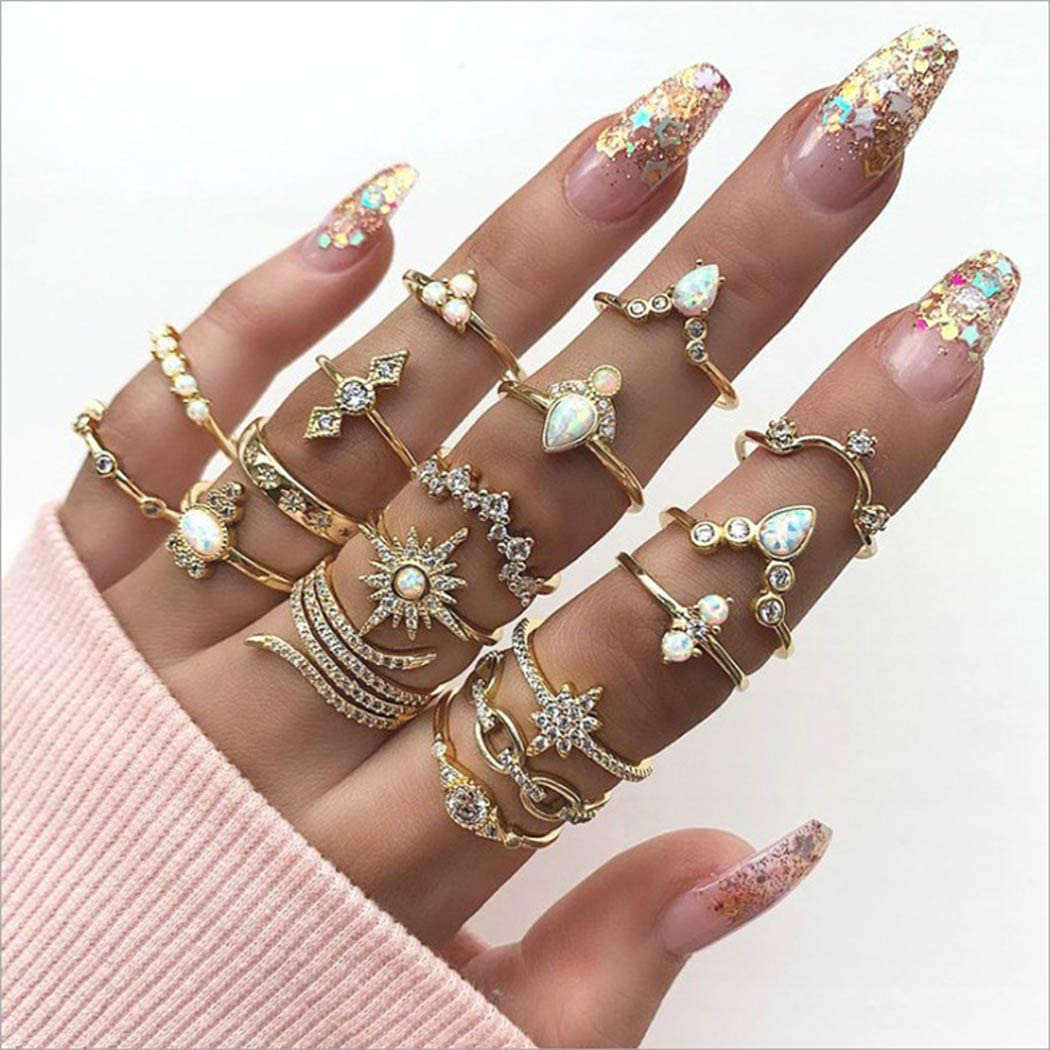 Reetan Boho Finger Ring Set Gold Crystal Star Joint Knuckle Ring Waterdrop and Sun Carved Finger Rings for Women and Girls(Pack of 17)