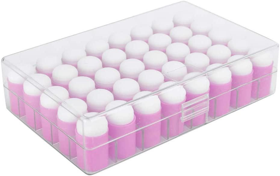 HONG111 Finger Sponge Daubers Set, 40pcs Finger Painting Sponge with Storage Case for Painting, Chalk, Ink, Card Making, Drawing(Pink)
