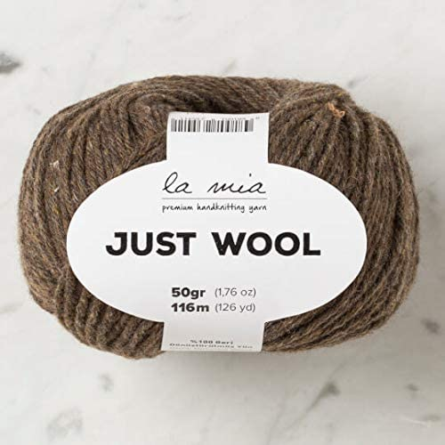3 Ball (Pack) La Mia Just Wool, Total 5.28 Oz. 100% Recycled Wool, Each 1.76 Oz (50g) / 126 Yrds (116 m), 3 Light DK, Brown - LT013
