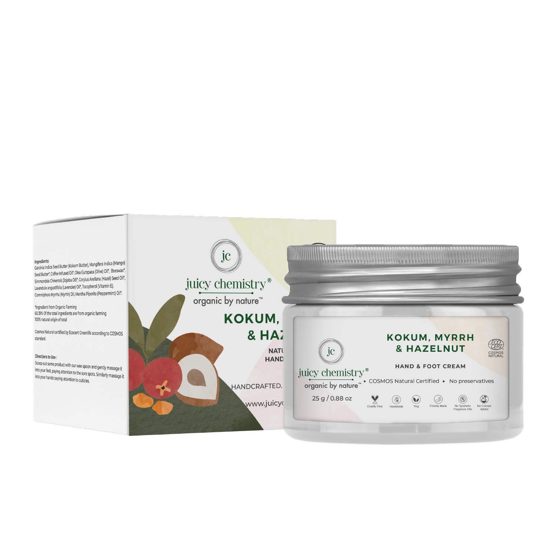 Juicy Chemistry - Certified Organic 100% Natural Hand & Foot Cream for Skin Healing & Moisturizing w/ Kokum, Myrrh & Hazelnut (25g)