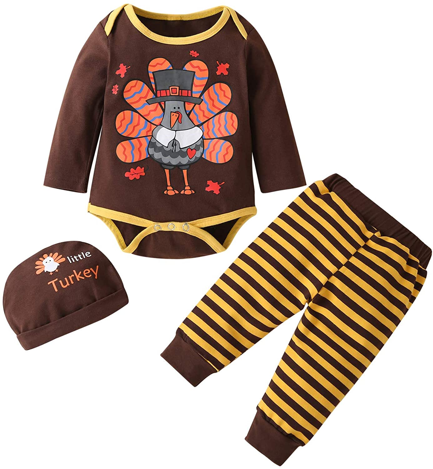 sdghg Newborn Baby Boy Thanksgiving Clothes Turkey Print Romper Jumpsuit Stripe Pants Hat Outfit 3Pcs