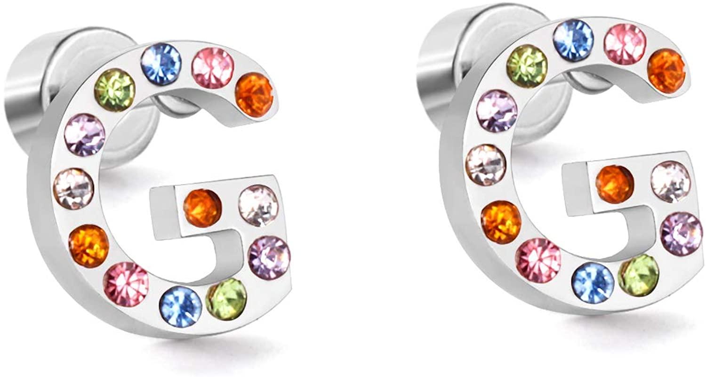LUXU kisskids 26 CZ Alphabet Letter Initial Stud Earrings-Hypoallergenic Stainless Steel Rainbow Cubic Zirconia Initial Earrings for Girls Women Jewelry Gift