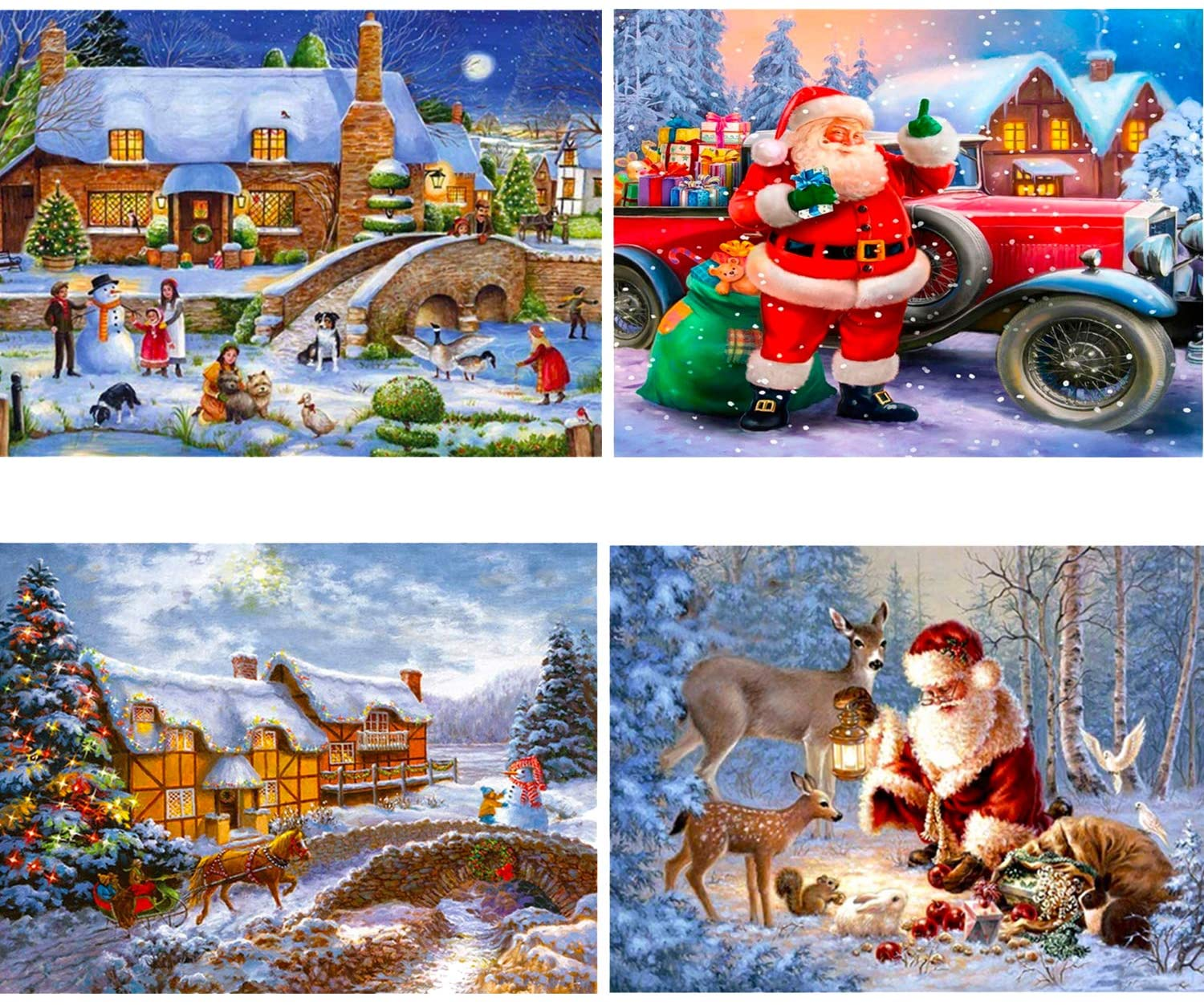 HaiMay 4 Pack DIY 5D Diamond Painting Kits Full Drill Rhinestone Painting Christmas Diamond Pictures for Wall Decoration,Happy Winter Style (Canvas 12×16 Inch)