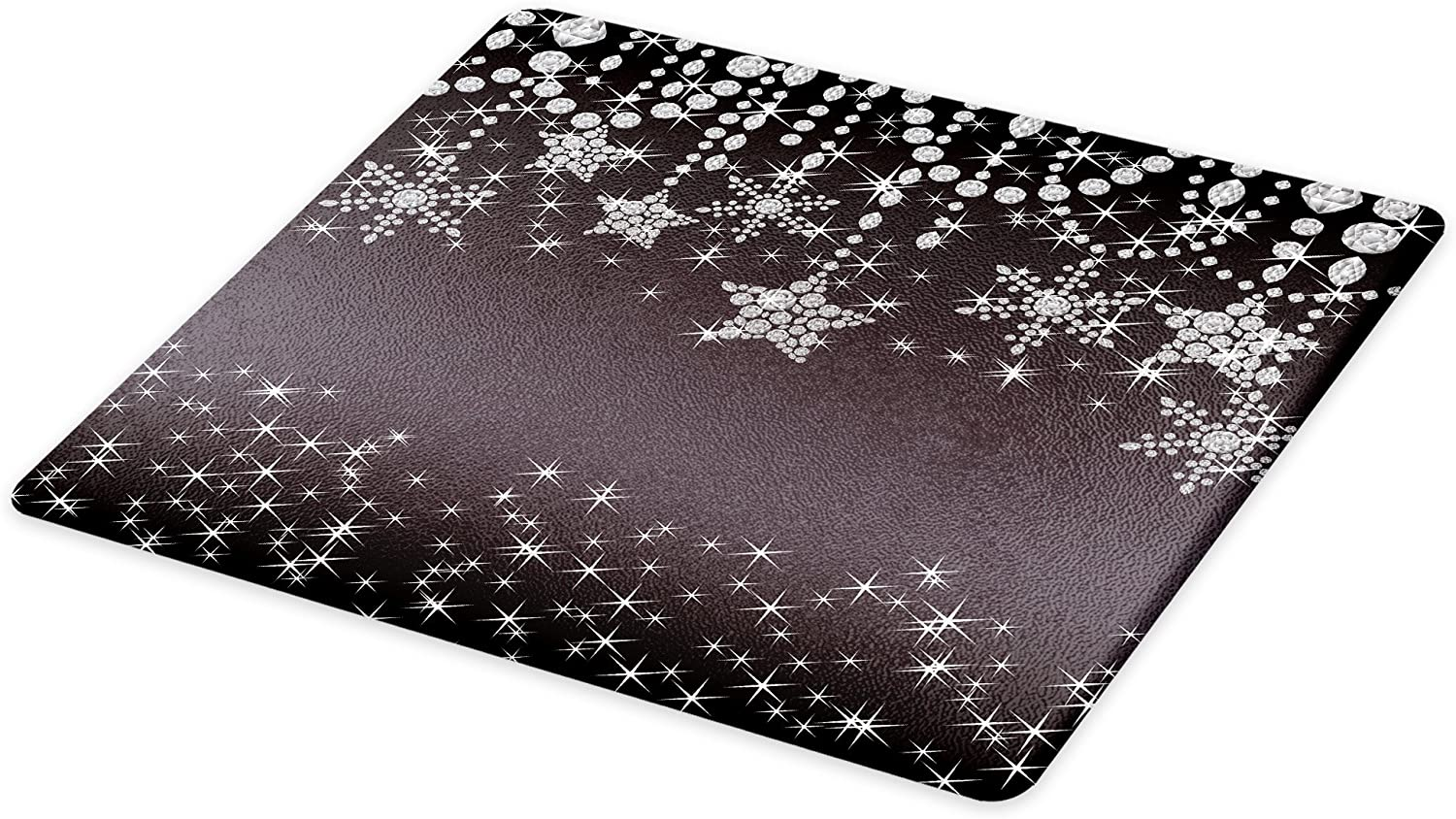 Lunarable Diamonds Cutting Board, Xmas Holiday Celebration Theme with Abstract Star and Snowflake Motifs, Decorative Tempered Glass Cutting and Serving Board, Large Size, Coconut