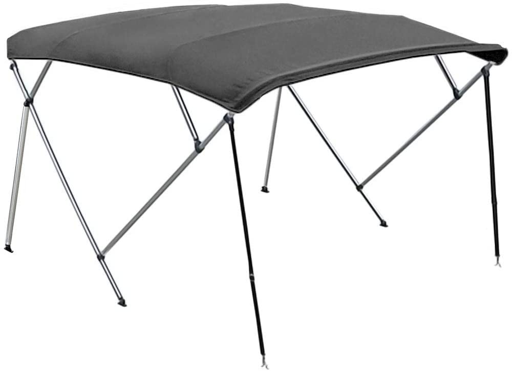 North East Harbor 4 Bow Boat Bimini Top Cover Gray with Rear Support Poles and Zippered Boot Fits 54